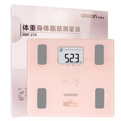 歐姆龍(OMRON) 體脂秤 脂肪測量儀 體重秤 脂肪秤 HBF-214 粉紅色