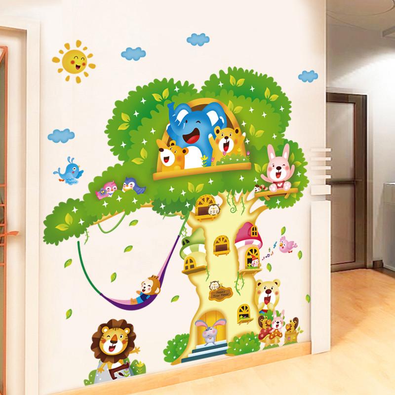 卡通树屋墙贴动漫 幼儿园班级儿童房装饰品贴画卧室温馨背景墙画