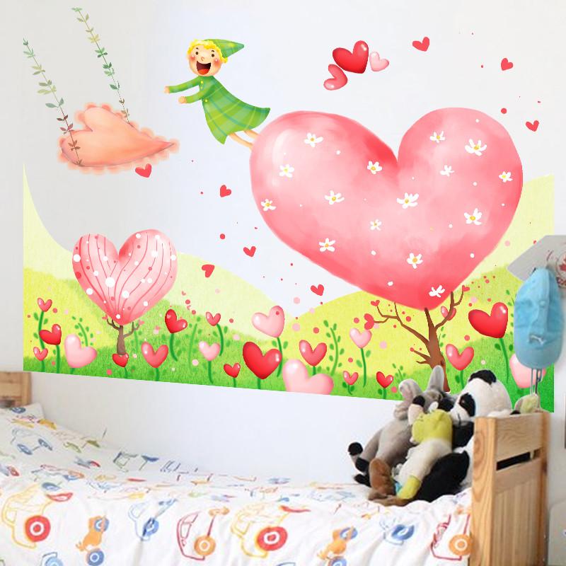 卡通爱心树墙贴 幼儿园教室布置创意贴画儿童房间床头