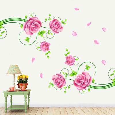 浪漫玫瑰花卉 客厅卧室电视墙装饰贴画 房间墙贴 家居装饰贴纸