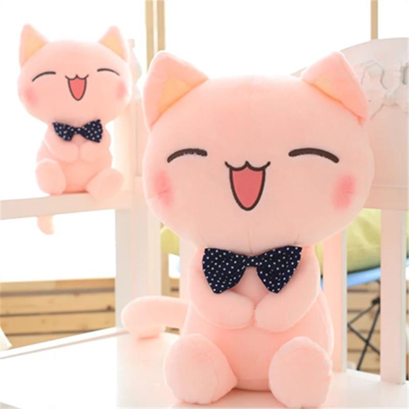 2017新款春夏季可爱粉色领结猫毛绒玩具笑脸小猫咪公仔儿童玩偶女生布