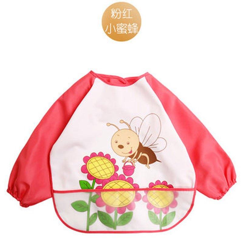 婴儿喂饭衣小孩幼儿口水巾加大号2017新品可爱卡通简约小动物罩衣夏天