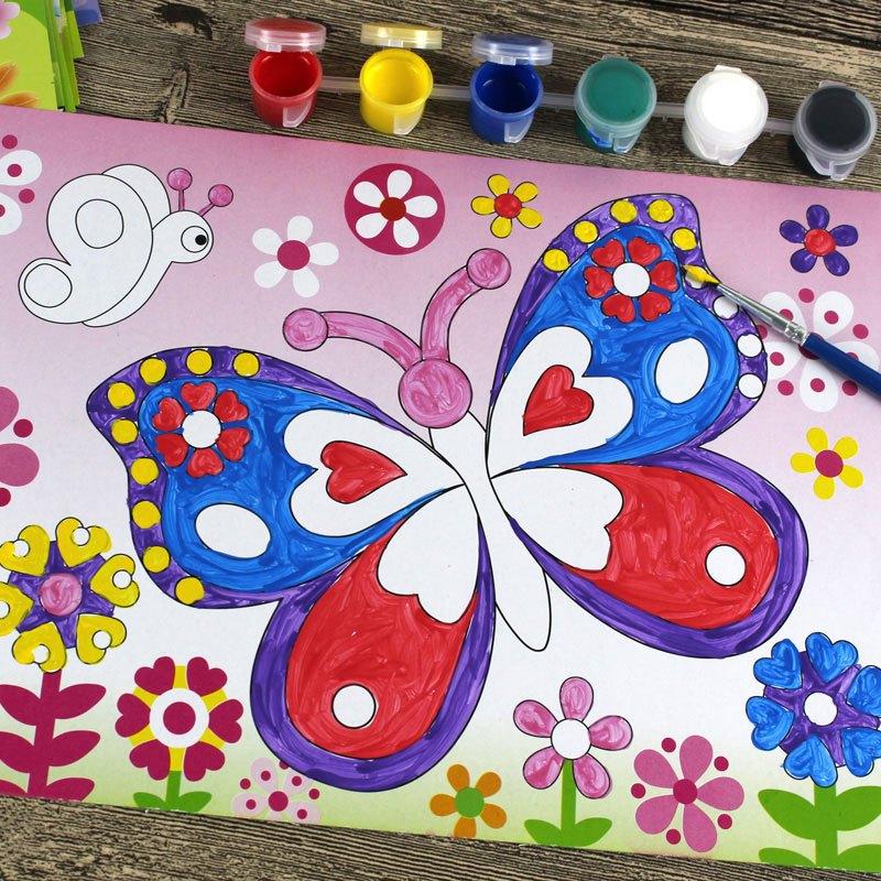 幼儿童水彩画涂鸦画 小孩手工diy制作颜料画涂色彩画填色画水粉画当季