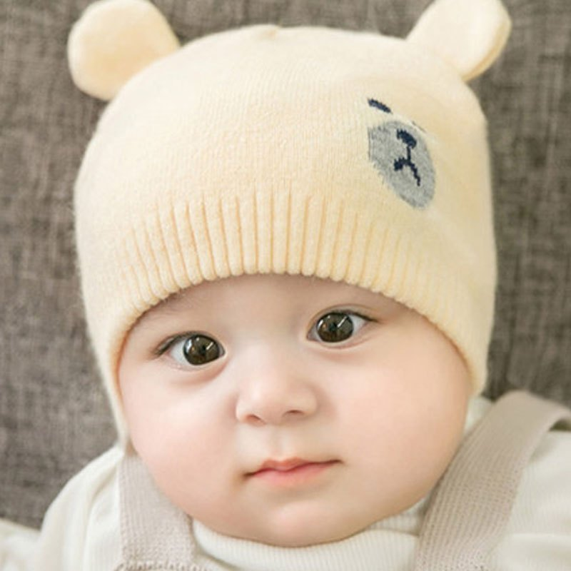 婴儿帽子秋冬季0男宝宝3个月6个月12儿童春秋保暖毛线