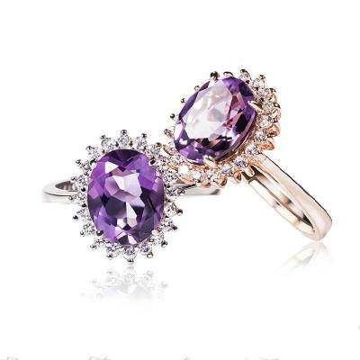 帛蘭梓韻 天然紫水晶戒指s925銀鑲寶石戒指閃亮大氣天然水晶女款結婚指環送閨蜜