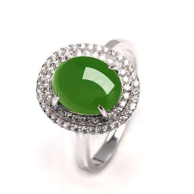 帛蘭梓韻 天然和田玉活口戒指925銀鑲嵌天然和田碧玉戒指可伸縮