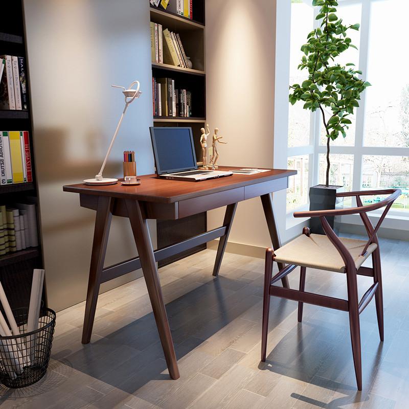 现代北欧实木书桌 带抽屉写字台日式小户型办公桌家用