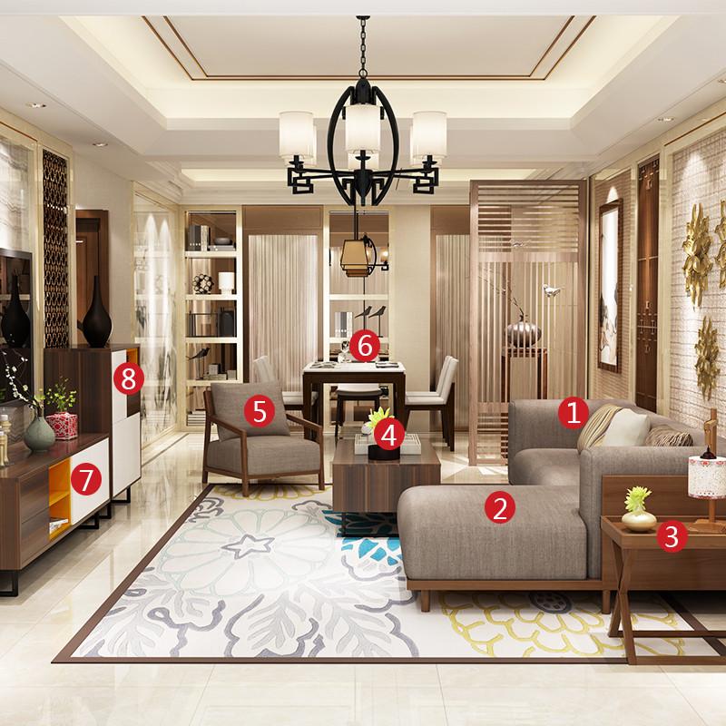 浪漫星 东南亚客厅全套餐 北欧风尚 布艺沙发 茶柜组合 餐边柜 边几