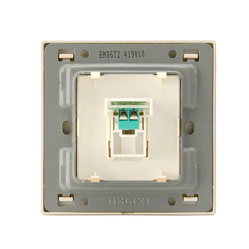 德力西开关插座面板一位二芯电话插座墙壁面板86型电话线接口面板拉丝