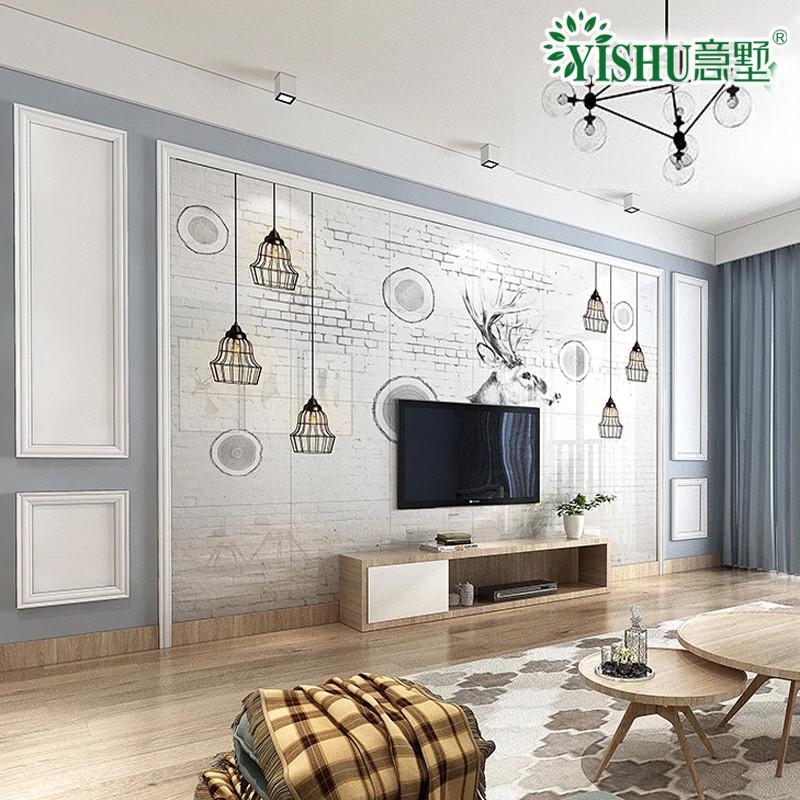 意墅瓷砖背景墙现代简约欧式 微晶石电视背景墙影视墙