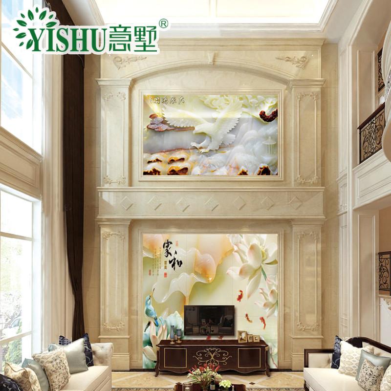 意墅 复式楼中空客厅背景墙 欧式人造石材罗马柱护墙板边框造型装饰3d