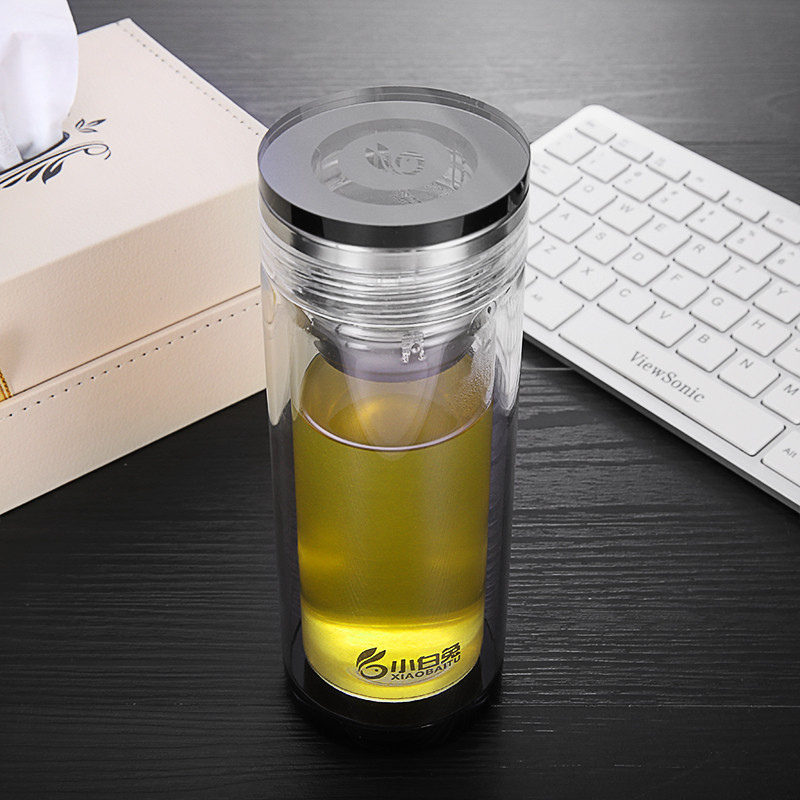 小白兔玻璃杯 双层创意水杯便携带盖茶杯大容量男女办公随手杯子图片
