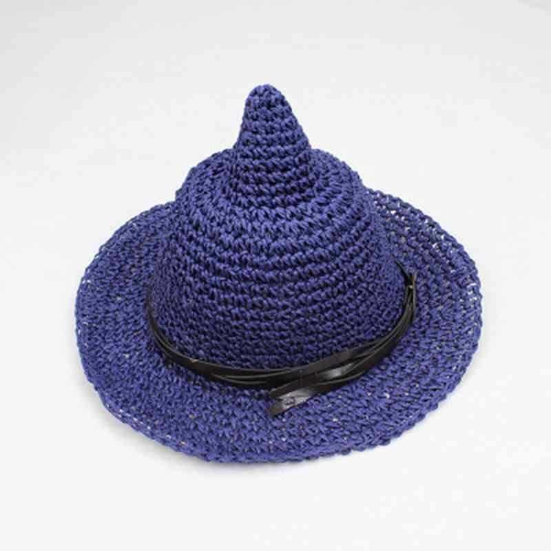 韩版新款手工编织尖顶巫婆奶嘴草帽沙滩遮阳帽渔夫帽女巫帽防晒帽