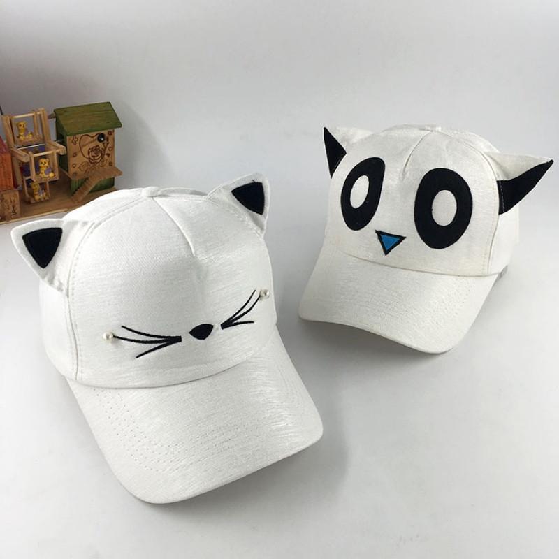 2017款【天天特价】帽子女夏天遮阳可爱猫脸棒球帽猫耳朵帽子亲子