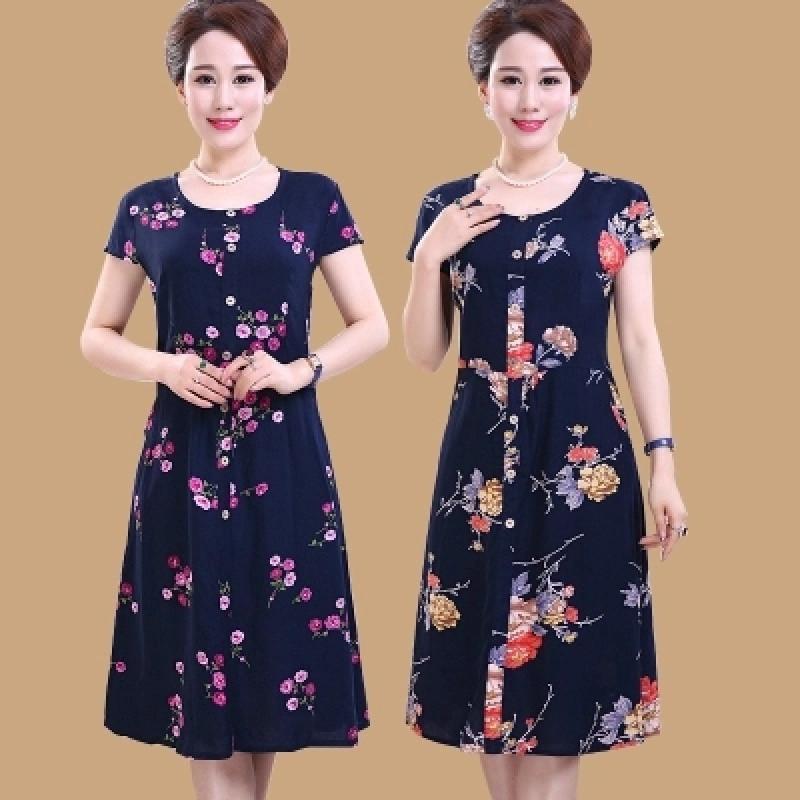 624款中老年棉綢連衣裙女裝夏季中長款大碼媽媽裙修身圖片