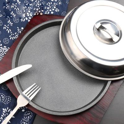 纳丽雅 加厚铸铁牛排铁板西餐牛扒铁板烧盘烧烤盘家用铁板盘铁板锅 25cm