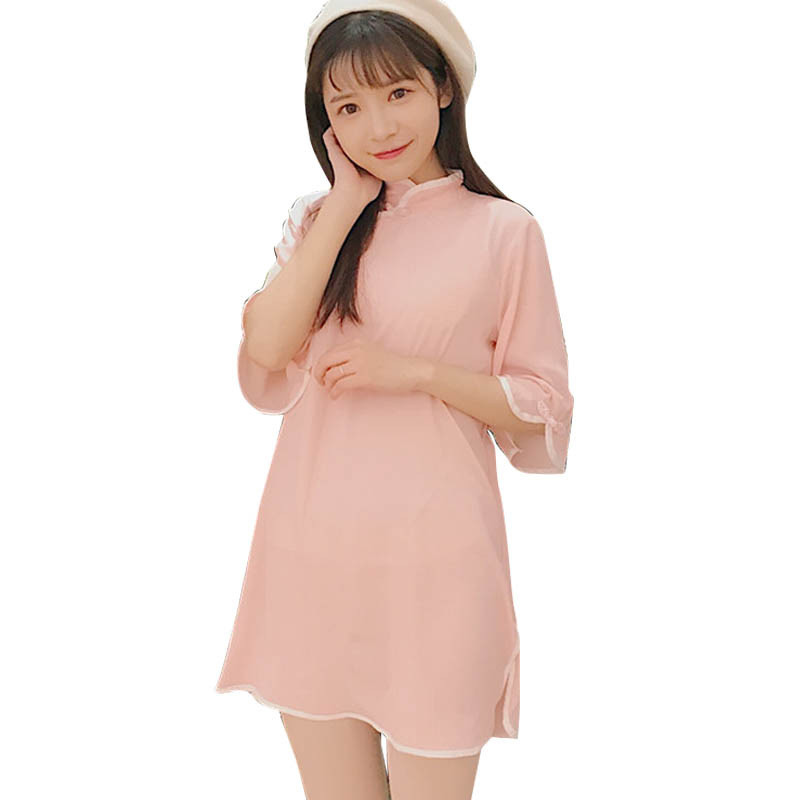 中国风春夏女装2017新款软妹改良旗袍少女短袖雪纺连衣裙学生裙子
