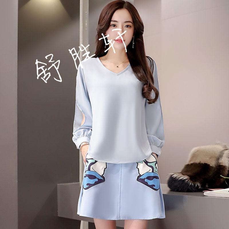 2017春装新款两件套套装裙韩版印花宽松雪纺上衣a字短裙套裙图片