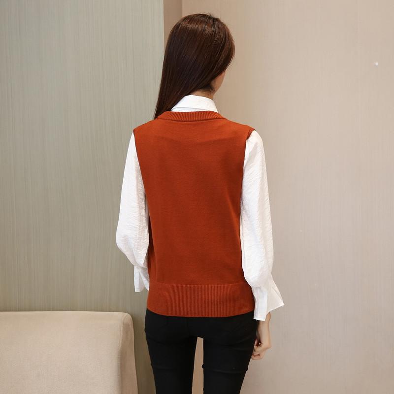 学院风短款2017秋季新款韩版针织背心大v领两件套毛衣
