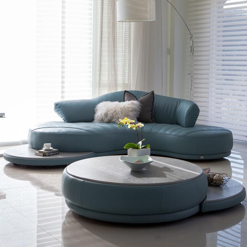 淮木 皮艺弧形皮沙发北欧家具创意沙发组合