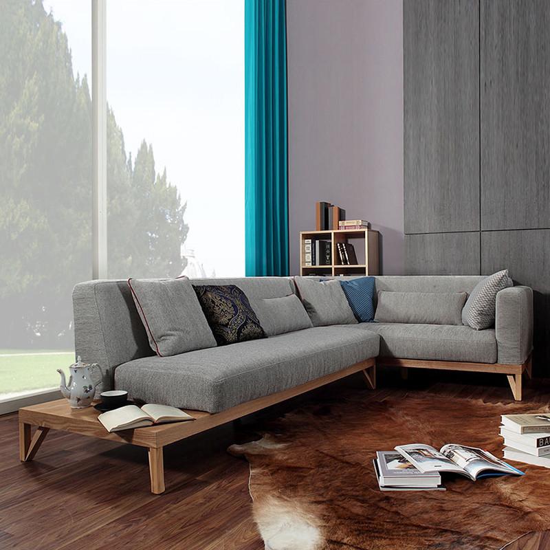 淮木 北欧家具实木布艺沙发小户型客厅组合 布沙发可拆洗沙发