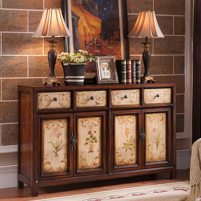 淮木 龙抬头中式实木玄关柜仿古鞋柜做旧装饰柜客厅酒柜储物柜美式图片