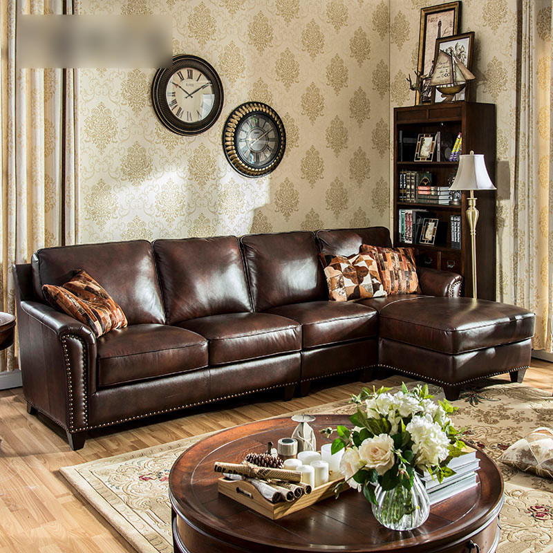 淮木(huaimu) 美式乡村皮沙发 客厅组合大小户型 皮沙发图片
