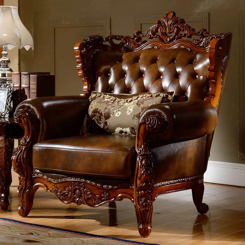 淮木 复古法式客厅家具实木美式乡村沙发 新古典欧式沙发组合