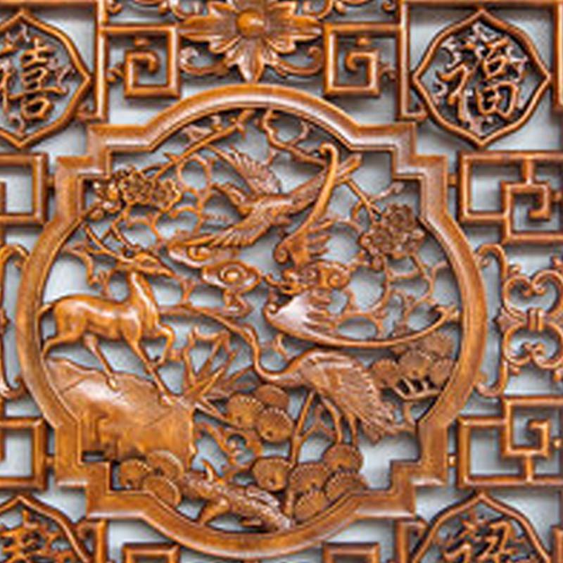 彩丽馆 礼品之家 东阳木雕 乔迁搬家礼品 中式仿古正方形福字香樟木