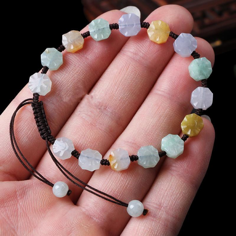 彩丽馆 翡翠编织手链八卦珠子手环男女款三彩玉石手串