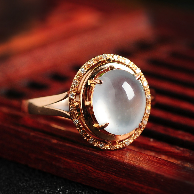 彩丽馆 18k金镶嵌玻璃种翡翠戒指圆形蛋面女款指环 送