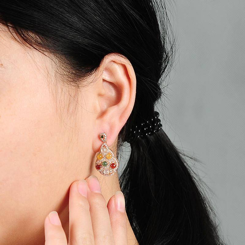 彩丽馆 翡翠耳钉树叶镶嵌耳坠s925玉石耳环女款三彩耳饰品 带证书