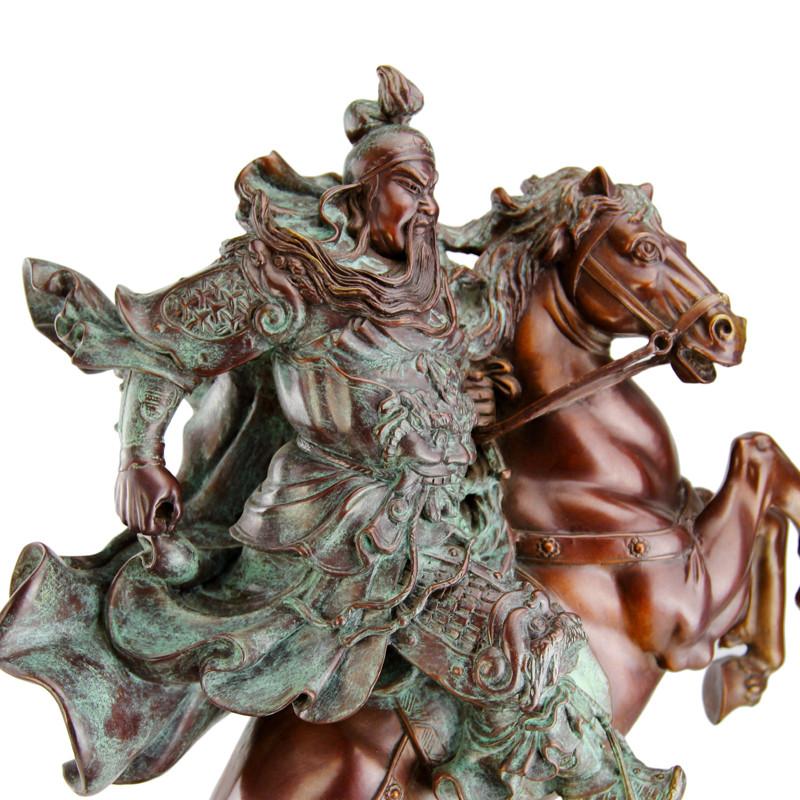 彩丽馆礼品之家骑马关公摆件纯铜关公像关公佛像关羽武财神关二爷财神