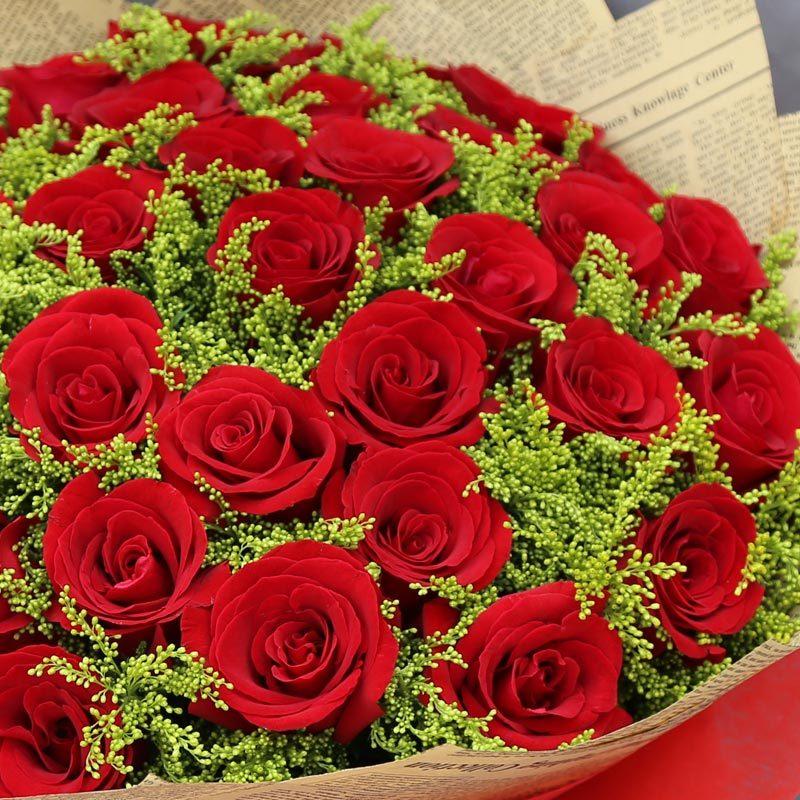 彩丽馆送女朋友鲜花速递 33朵红玫瑰花束送女友送老婆生日礼物北京