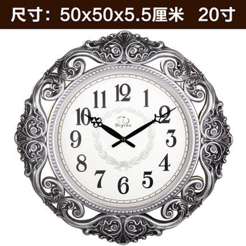 彩丽馆时尚钟表欧式挂钟客厅现代静音电子时钟复古艺术壁挂石英钟3784图片