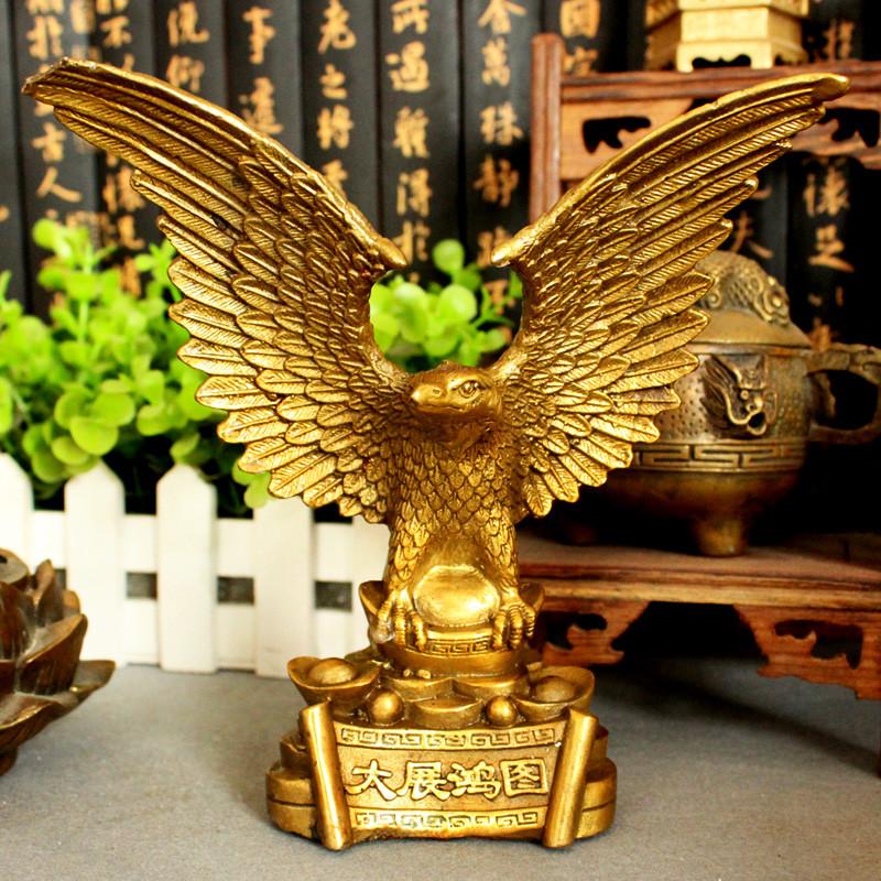 彩丽馆开业创意礼品大展鸿图鹰 黄铜老鹰摆件 家居装饰品图片