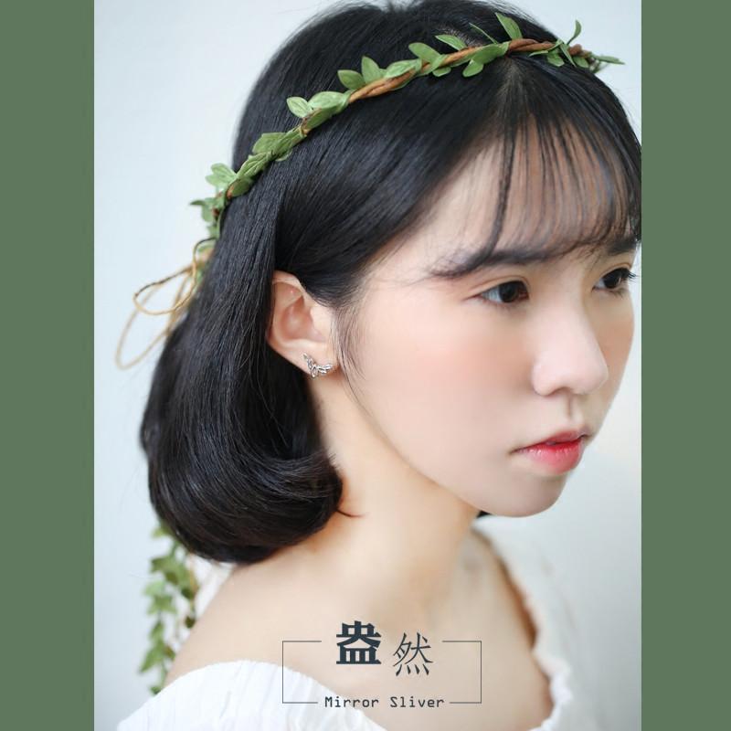 彩丽馆日系清新发芽可爱小树叶森林系s925纯银小耳钉气质配饰时尚百搭