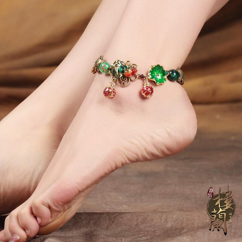 彩丽馆古风脚链中国风铃铛有声音复古民族风饰品足链个性脚饰女送女