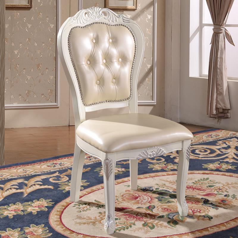 千住明简右欧式皮椅田园象牙白色皮椅子实木椅酒店餐椅家用椅子凳子