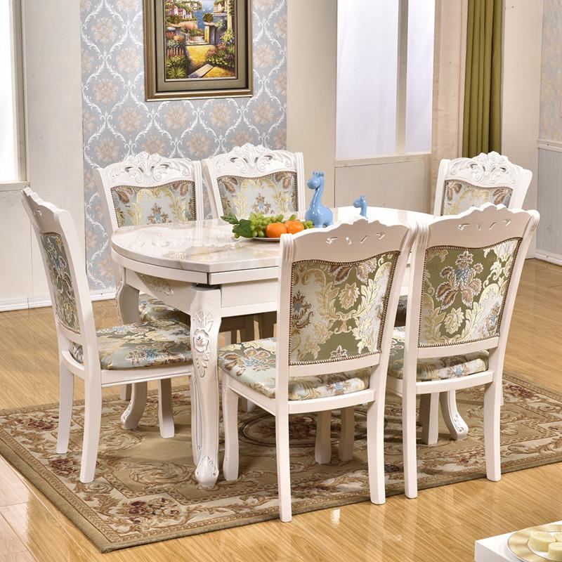 千住明欧式大理石折叠餐桌椅组合实木可伸缩圆桌子家用多功能圆形饭桌