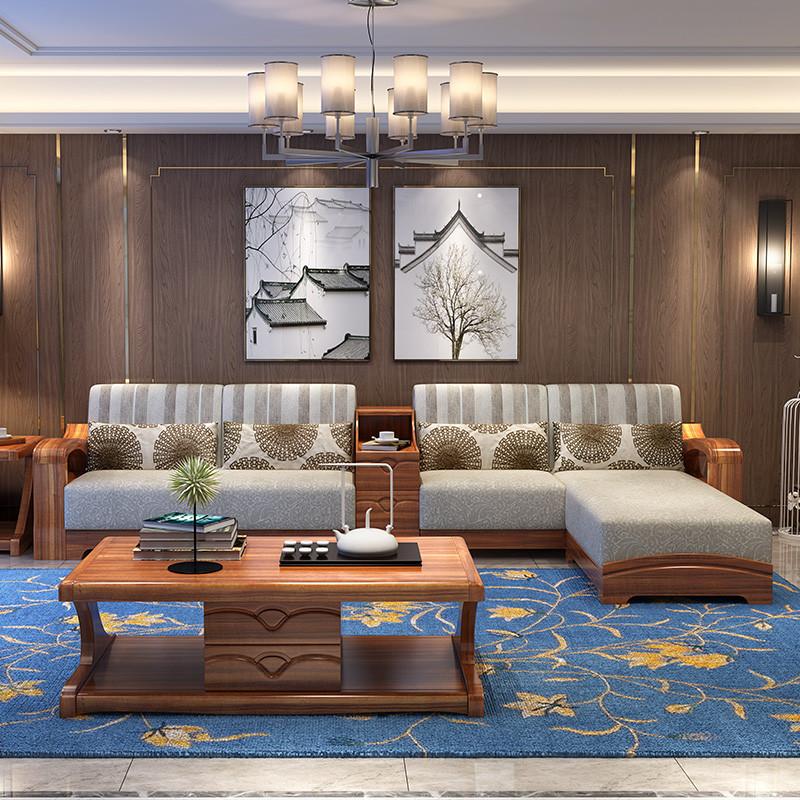 千住明实木沙发组合实木家具金丝檀木沙发转角沙发a809