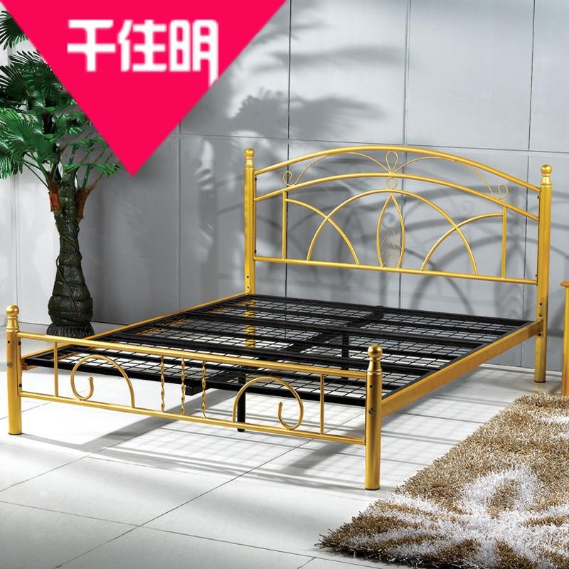 千住明欧式田园简约现代铁艺床欧式卧室双人床铁架床公主床1.5米1.