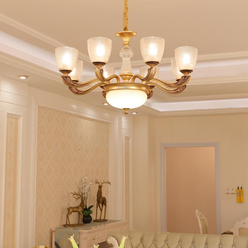 世冠 客廳吊燈歐式水晶吊燈簡約現代餐廳臥室美式燈具