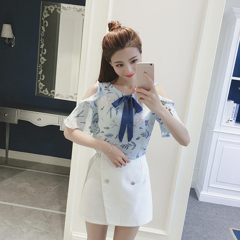 夏季新款女装蝴蝶结雪纺衫短袖宽松显瘦时尚百搭印花上衣小衫