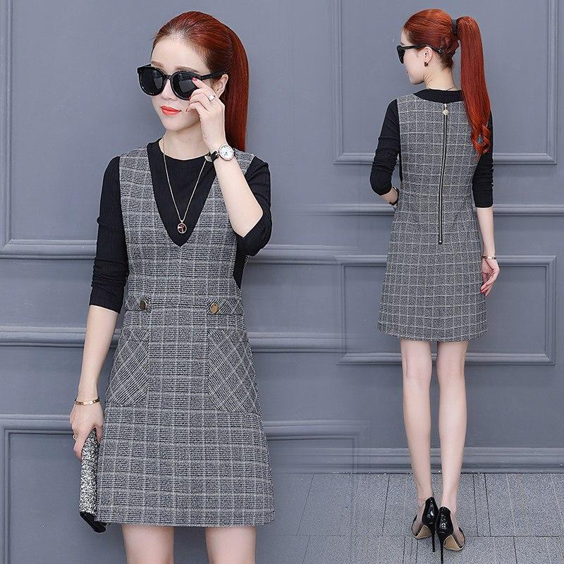 千仙仙时尚两件套女士长袖连衣裙秋装韩版20
