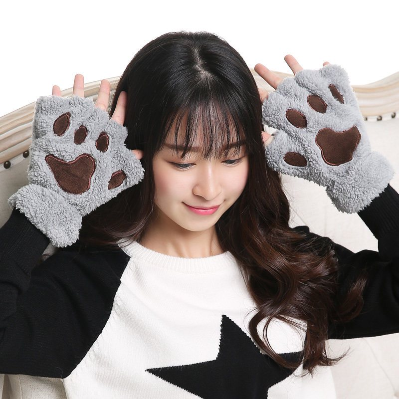 意维斯itweiss 手套女冬季可爱韩版学生半指卡通萌甜美加绒保暖加厚