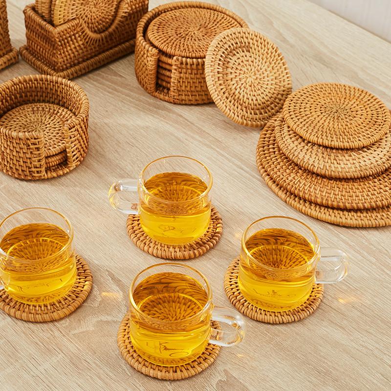 senseyo杯垫手工编织越南藤编杯垫餐桌盘子隔热垫碗垫