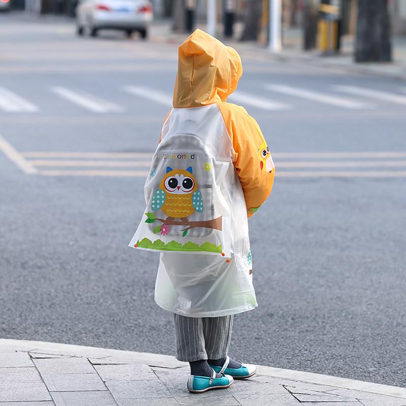 韩国可爱卡通轻便无味带书包位儿童雨衣雨披男童女65487