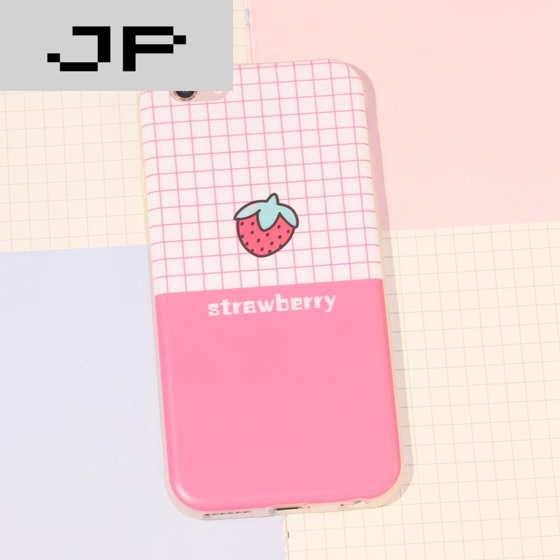 jp潮流品牌情侣格子可爱西瓜草莓苹果6手机壳磨砂iphone6 plus硅胶套