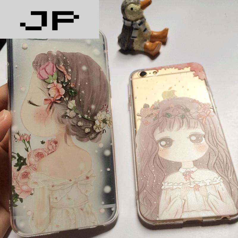 jp潮流品牌可爱婚纱女孩iphone7/6s浮雕苹果6plus透明